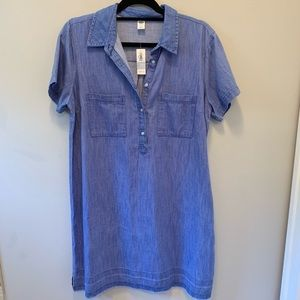 NWT ,Chambray denim shirt dress with pckts. size L
